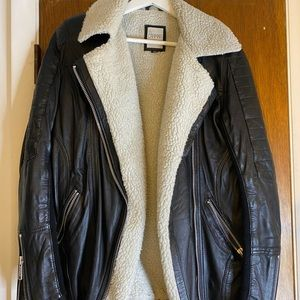 Carmar Black Leather Shearling Lined Moto Jacket